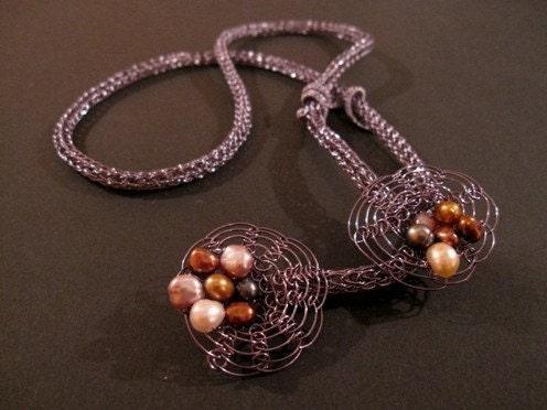 Long floral viking knit necklace, smoke grey