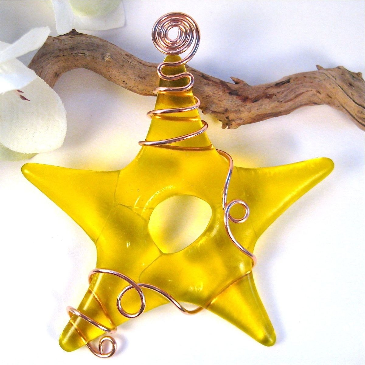 Fuse Glass Star Suncatcher -Yellow with Copper Wire