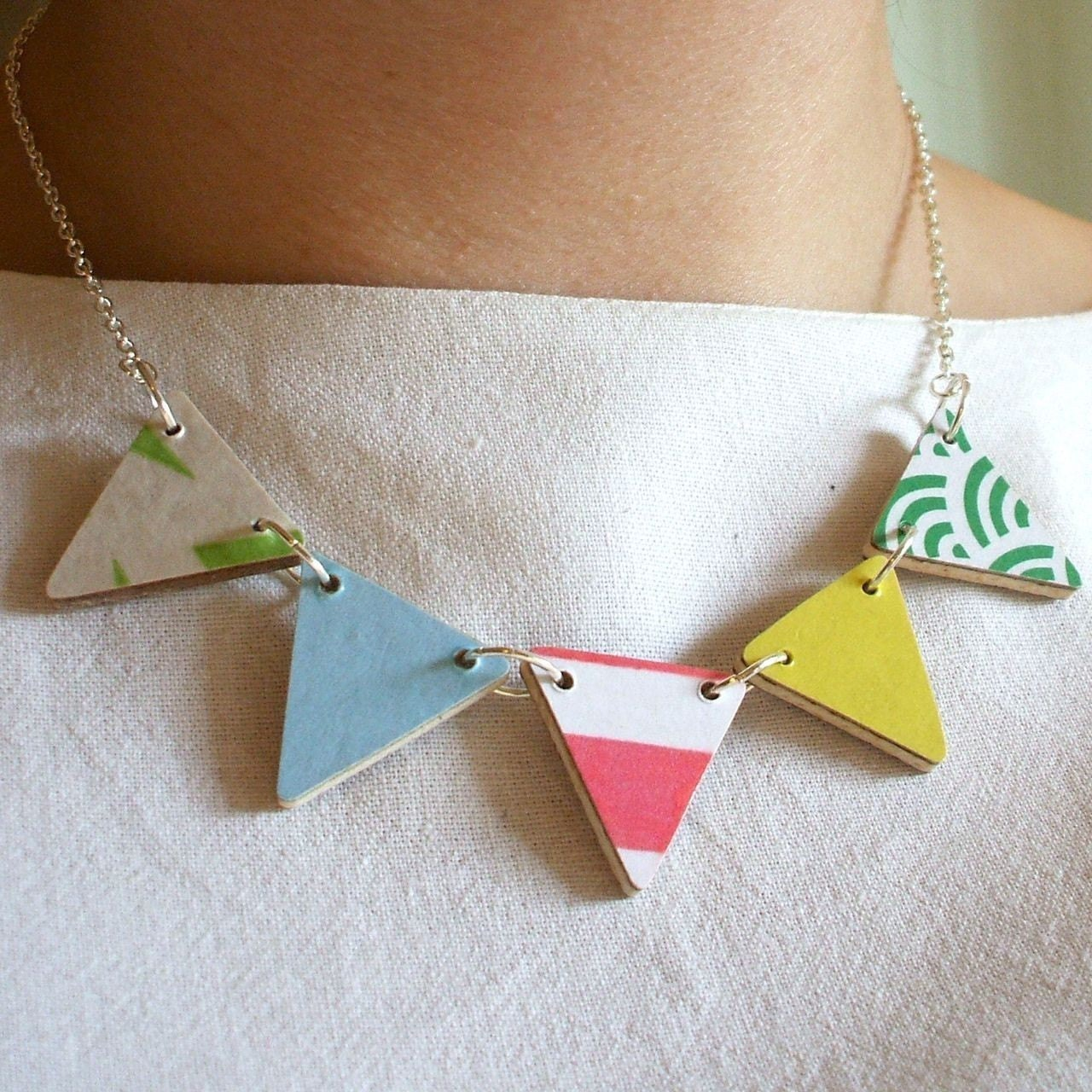 Wooden Bunting Flag Necklace - Candy Colours
