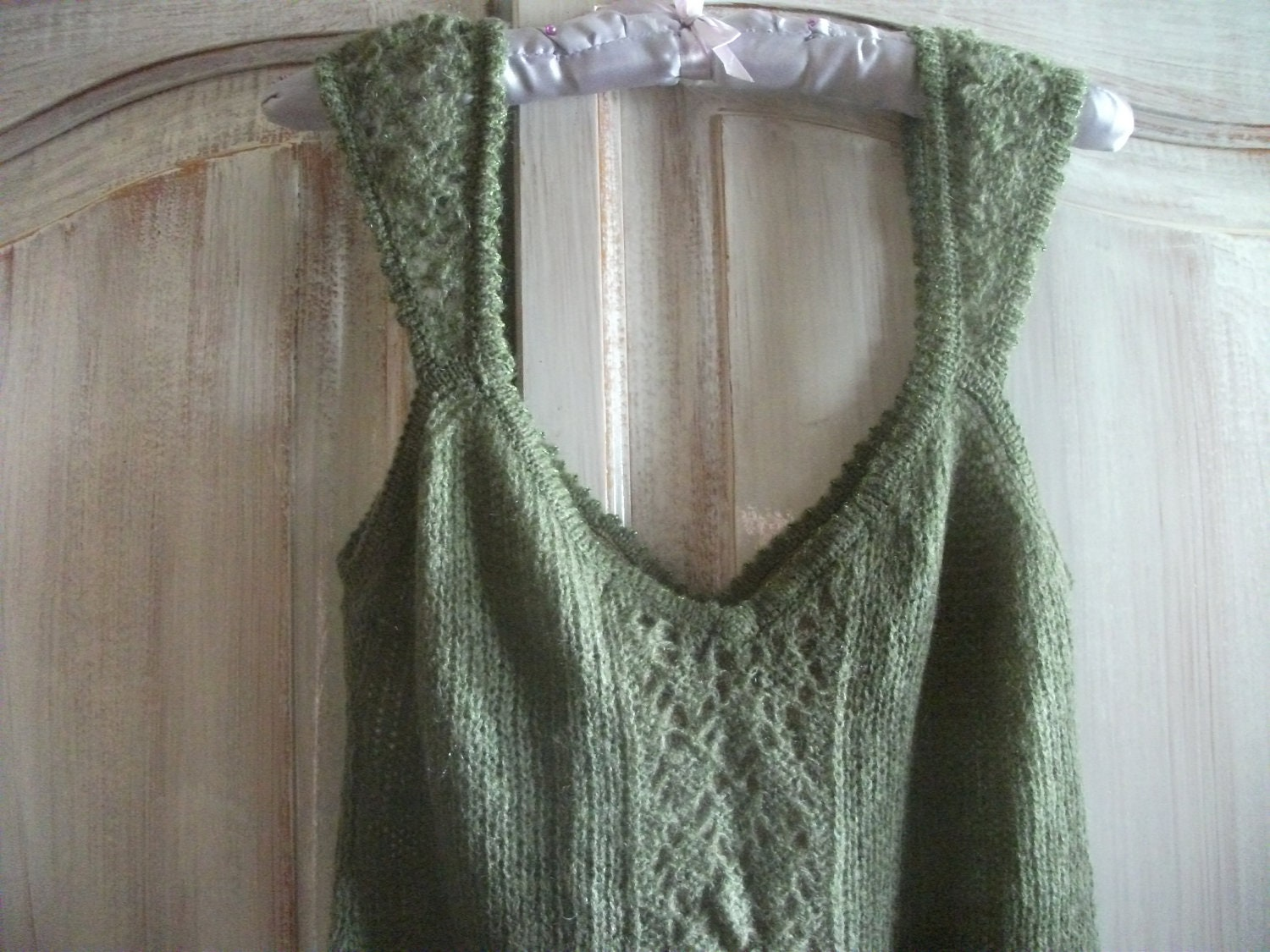 "sale-DELICATE KNITTED DRESS, soft sage green, size M, 32-34"" bust - BinkyLoveCat"