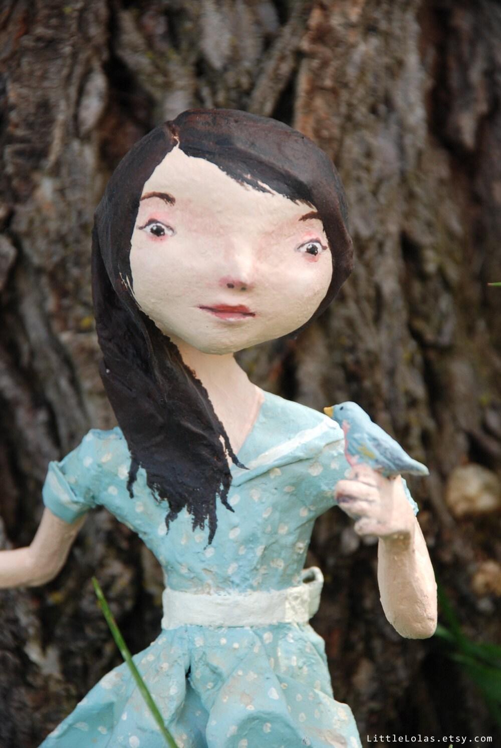 My Pet  Bluebird paper mache doll