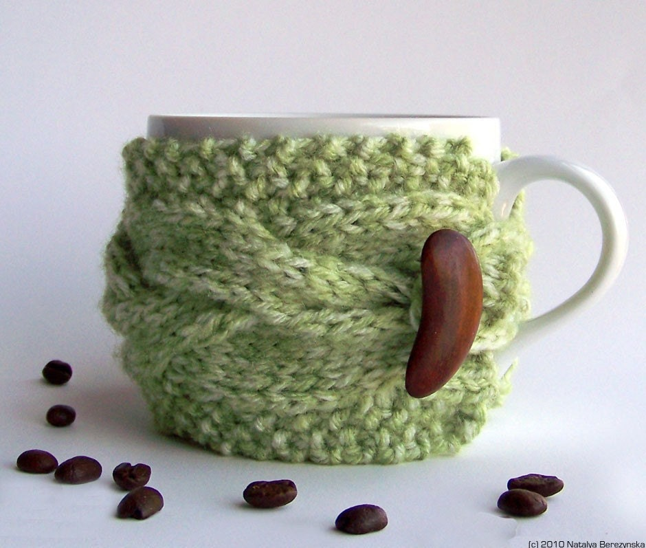Green Apple Cup Cozy, Avocado Mug Sleeve, Grass Moss Sage Mint Peapod Wood Woodland Forest Nature Turf, Knitted Cabled, fresht fttt