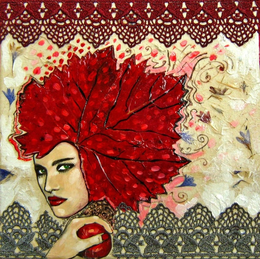 Original collage - Miss Autumn - 8x8 inches, acrylics, handmade paper, lace, flower pressings on canvas