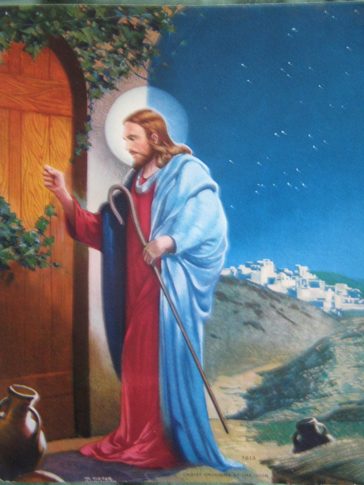 Vintage 1950 S Jesus Christ Knocking At The Door By