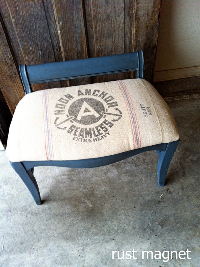 Vintage Stool with 1940s grain sack upholstery - rustmagnet