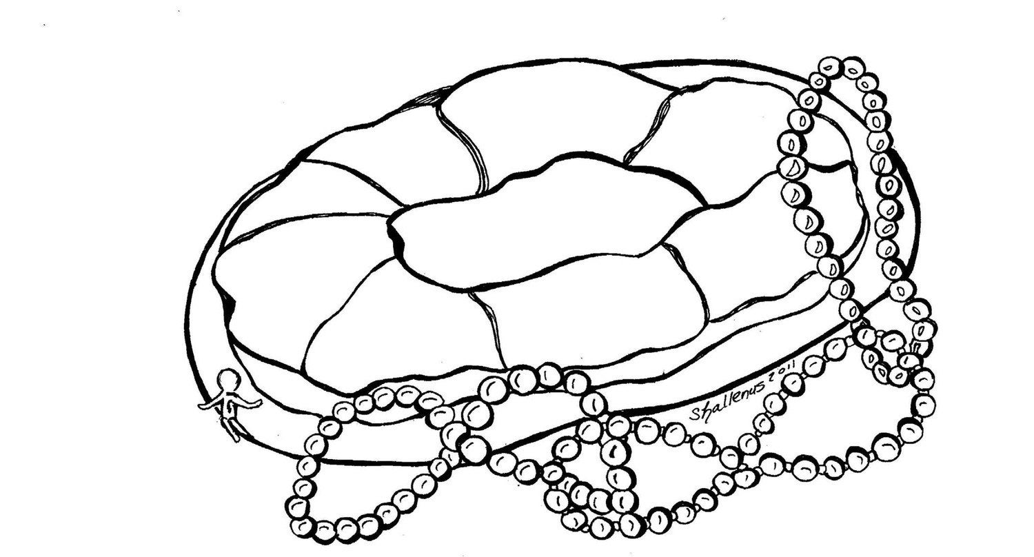 King Cake Coloring Sheet Pages Sketch Page