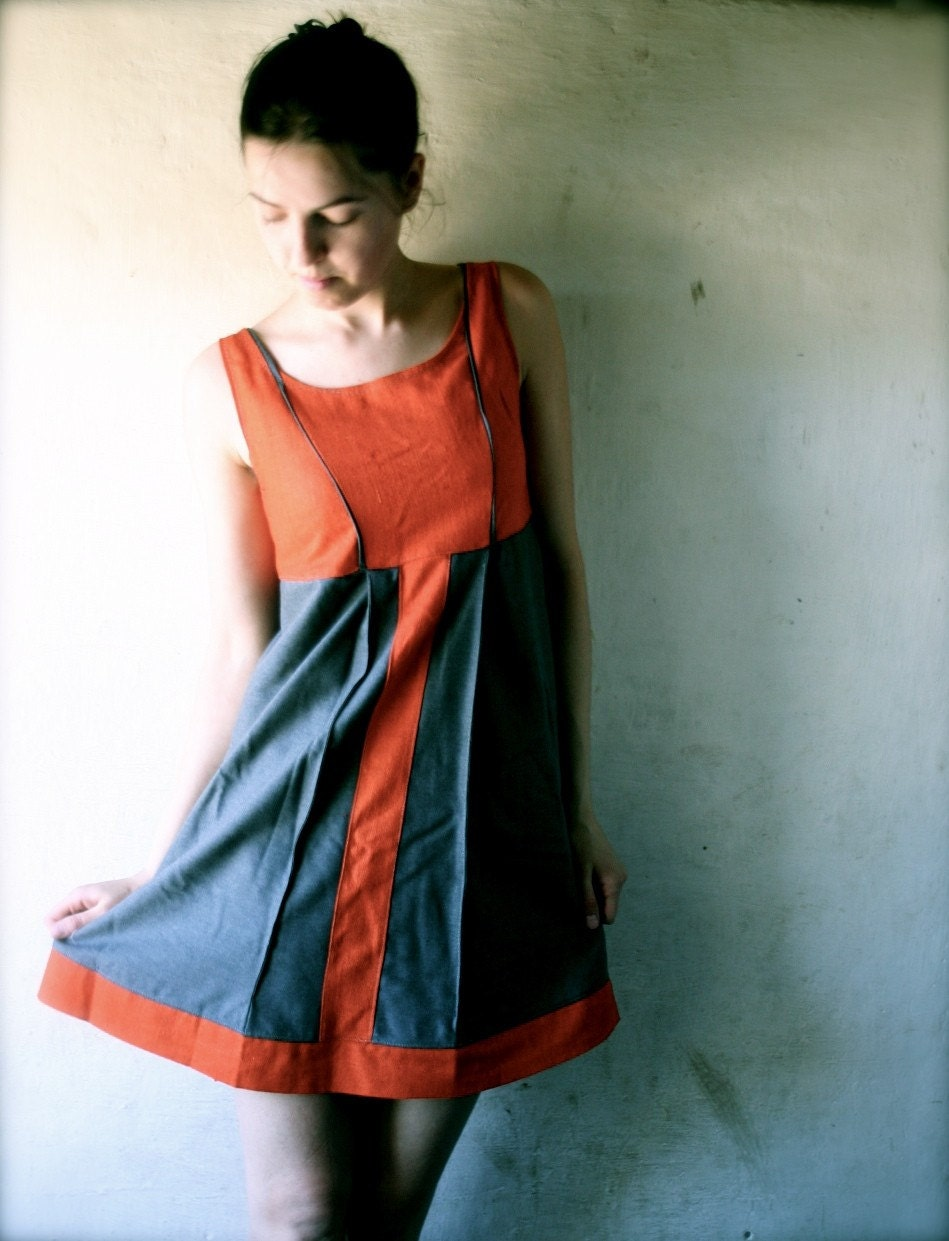 Panel dress in orange and grey