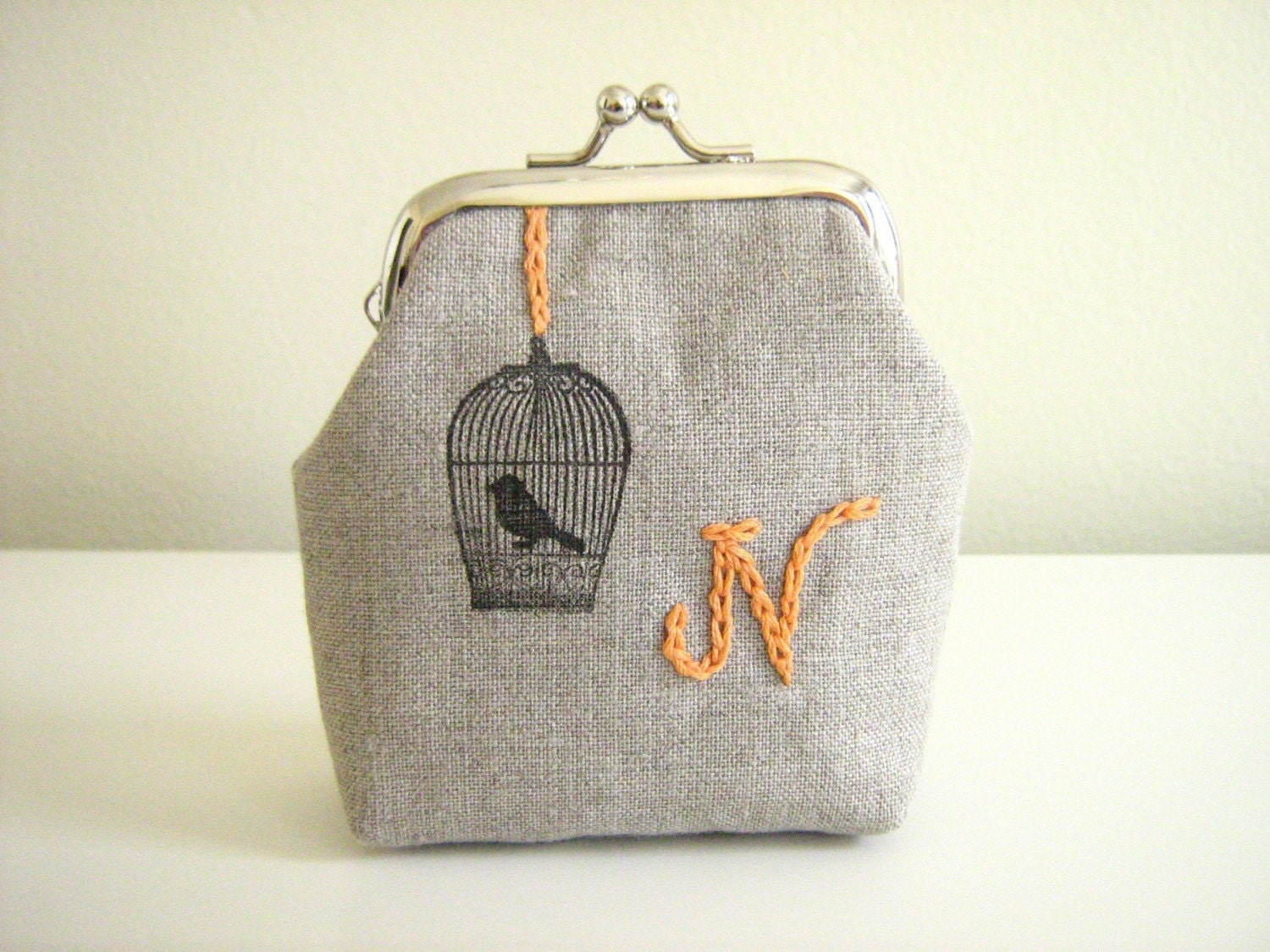Choose your own Initial- Bird in a Cage mini clasp purse- ships free to U.S. and Canada