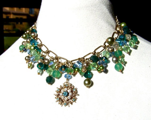 Mermaid Statement Necklace Pearls Crystals by dabchickvintagegems