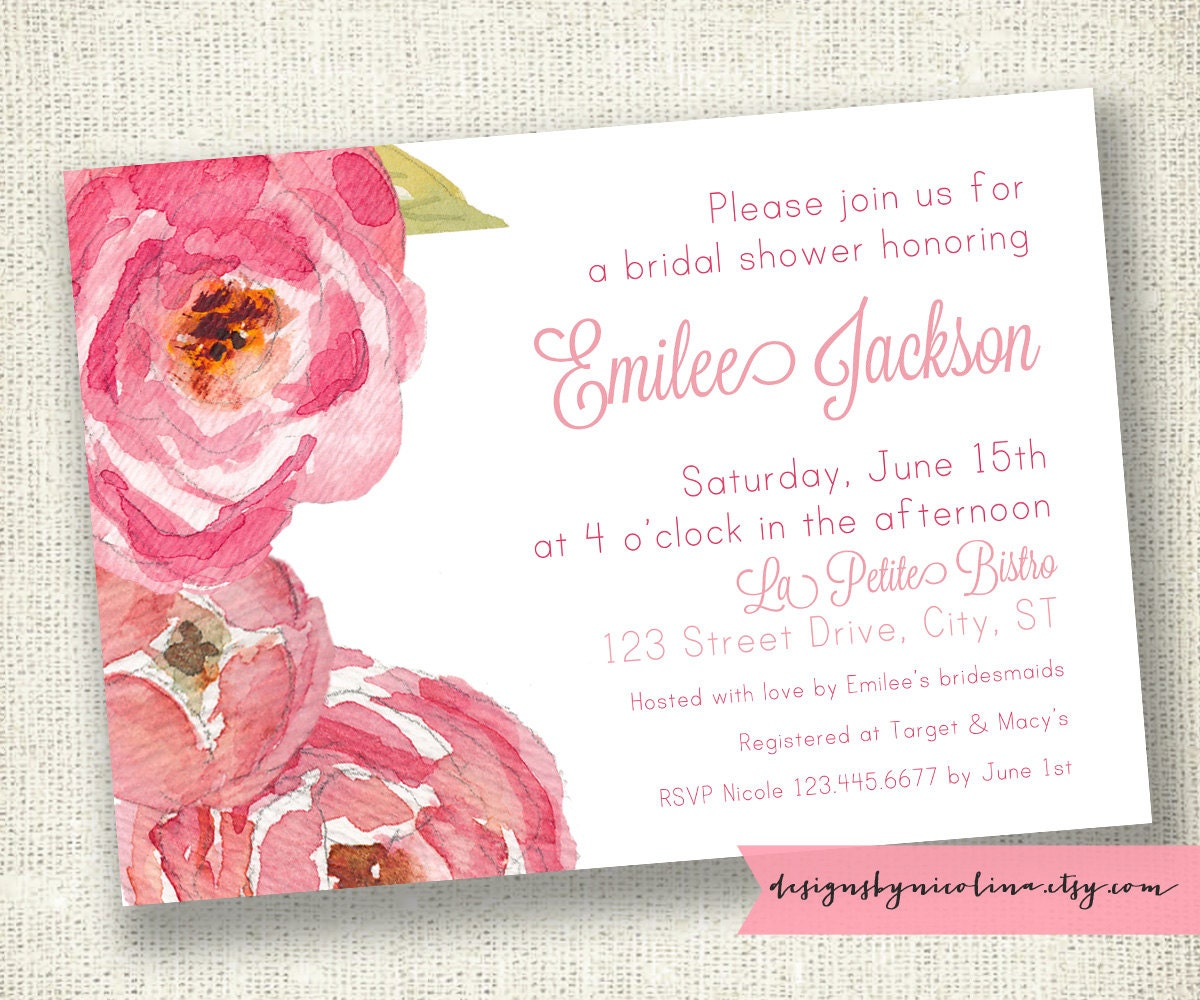 Coral and Pink Watercolor Florals -  Bridal or Baby Shower PRINTABLE Invitations