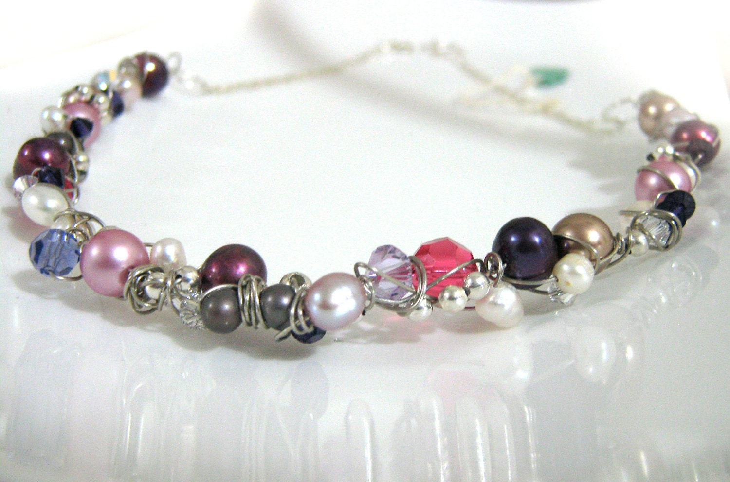 Ooak wire wrapped necklace - Grapevine - purple and pink - freshwater pearl and crystal