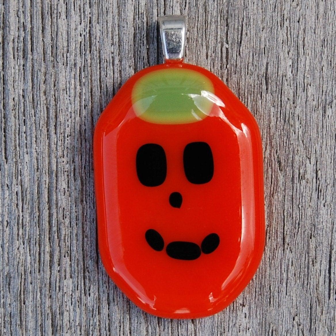 Halloween Pumpkin - Fused Glass Pendant - Jack o Lantern