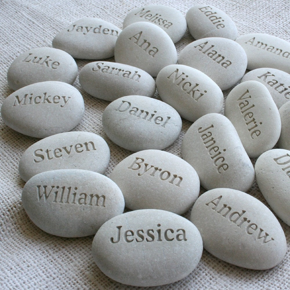 Party guests souvenir - set of 10 engraved white beach pebbles by sjEngraving