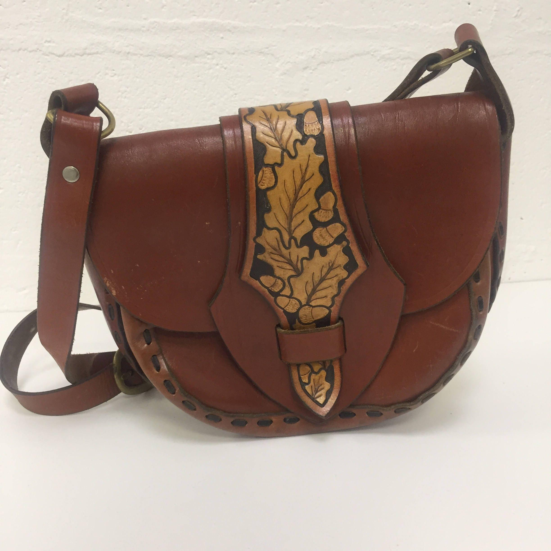 Original Vintage 1960s Tooled Leather Handbag Purse Brown Tan FREE WORLDWIDE POSTAGE