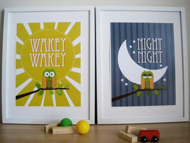 OWL Art for Kids Wall Print , Owl Art for Nursery - Set of 2 - Night and Wakey