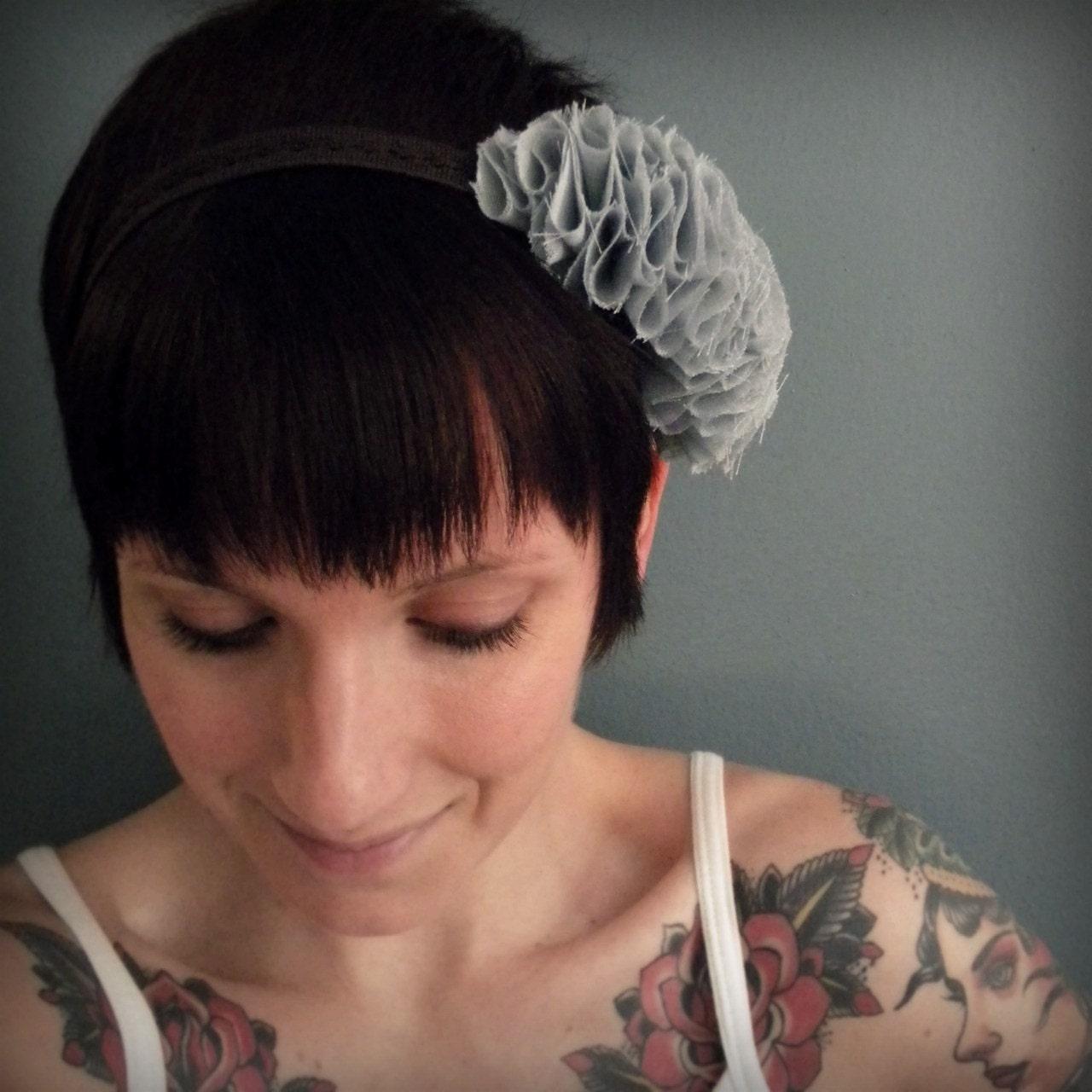 ruffle headband, pale blue and brown