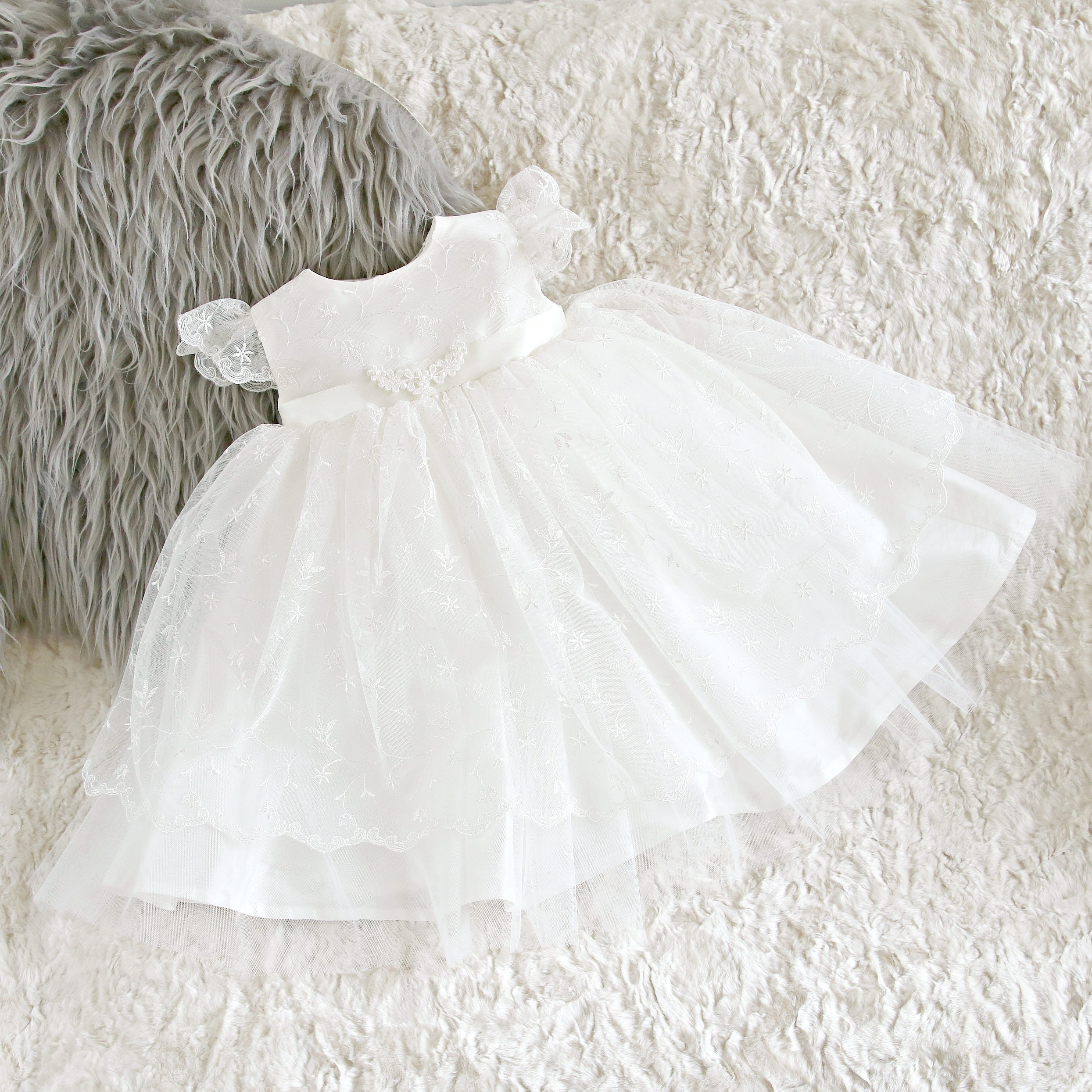 Christening Dress Ava  Adore Baby  Baptism Dress  Baby Girl Baptism Dress  Baby Blessing Dress  Christening Gown  Baptism Gown