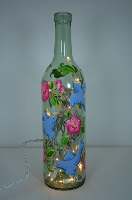 Hand painted wine bottle light with birds and by for Painting flowers on wine bottles