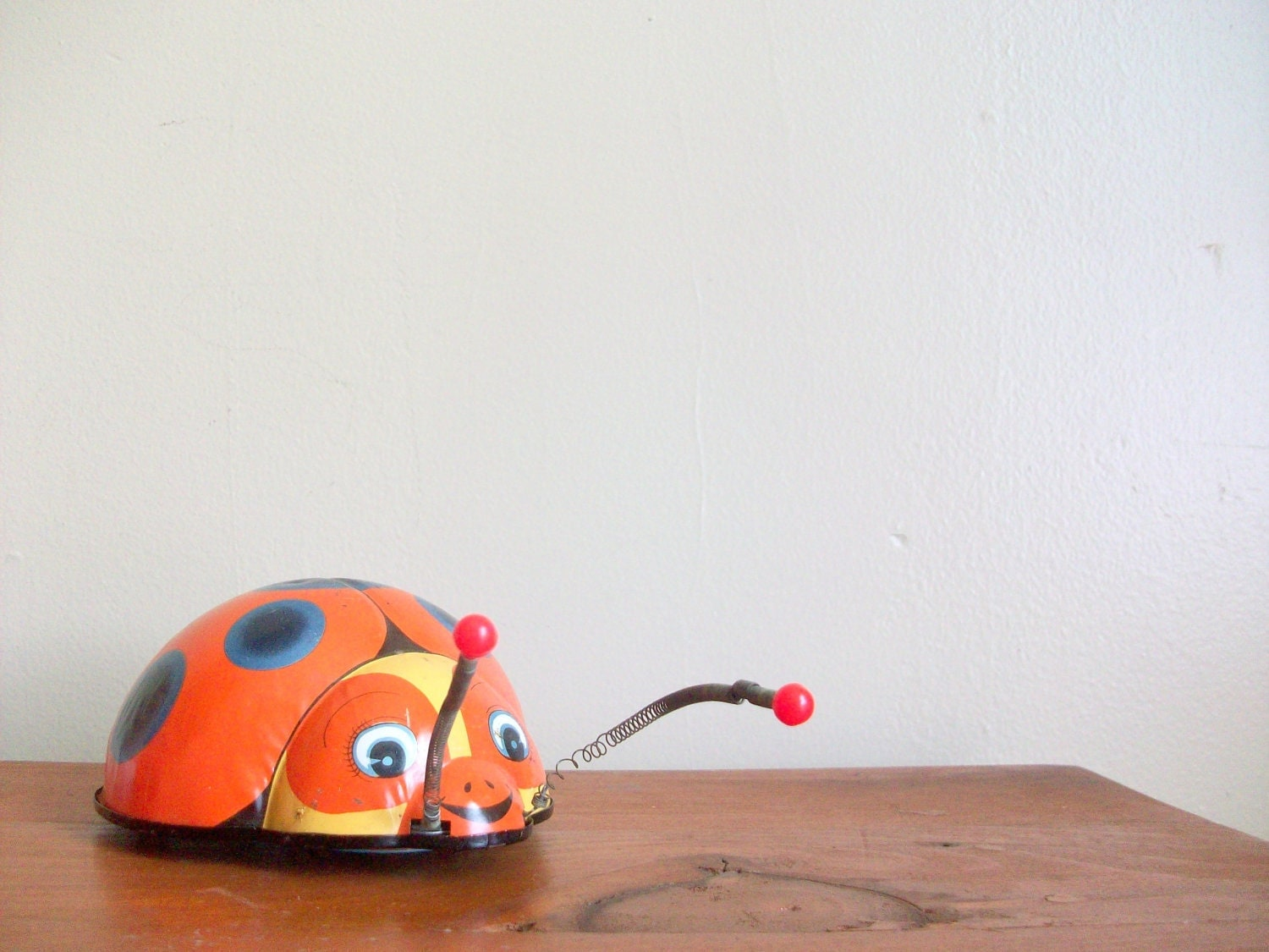 six dollar sale - reduced sale - mechanical wind up lady bug toy - for kids - insect - metal - compostthis