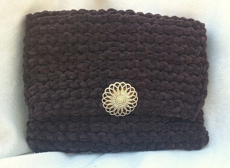 Small Brown  Suede Clutch