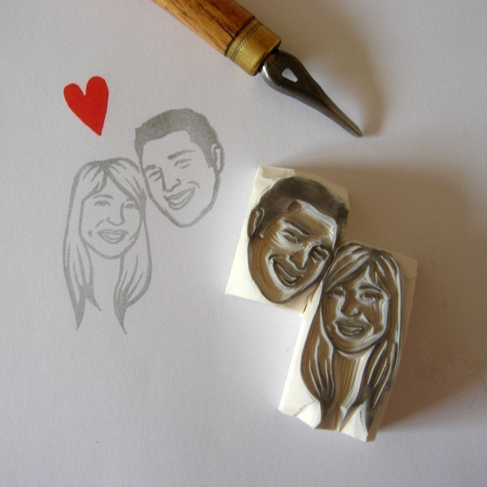 lilimandrill Custom / double face / handcarved rubber stamp