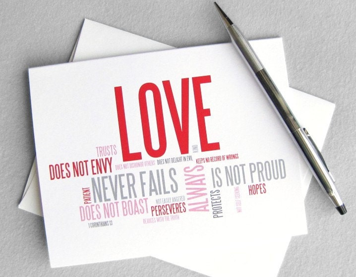 Wedding card, anniversary card - Love is patient, love is kind: 1 Corinthians 13 modern christian card - RedLetterPaperCo