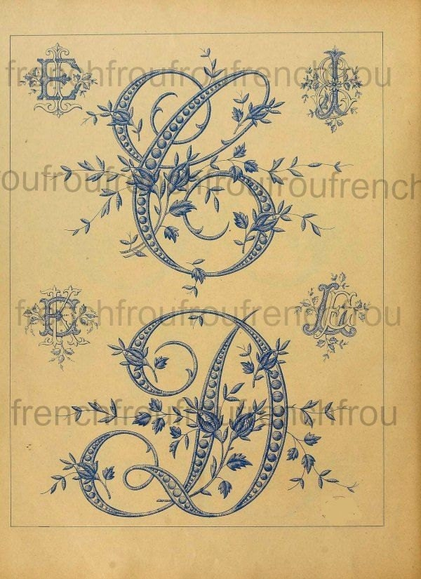 Antique victorian french alphabet rosebuds by frenchfroufrou