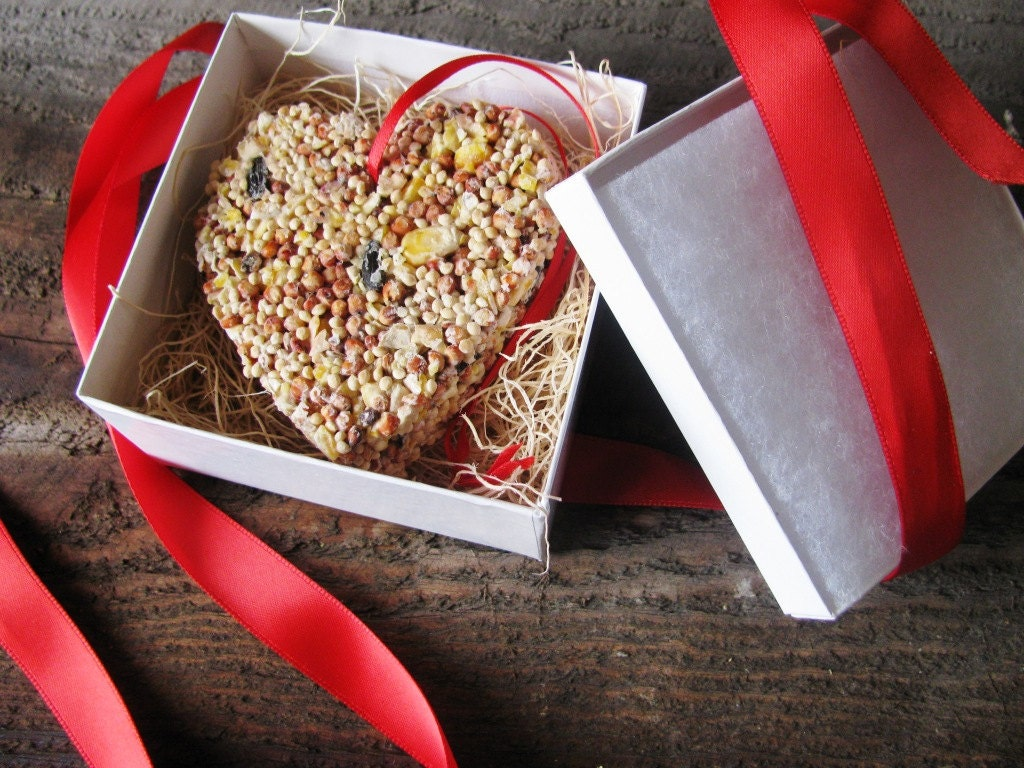 Individually wrapped bird seed heart ornament- deluxe wrapping - PlantablesAndPaper