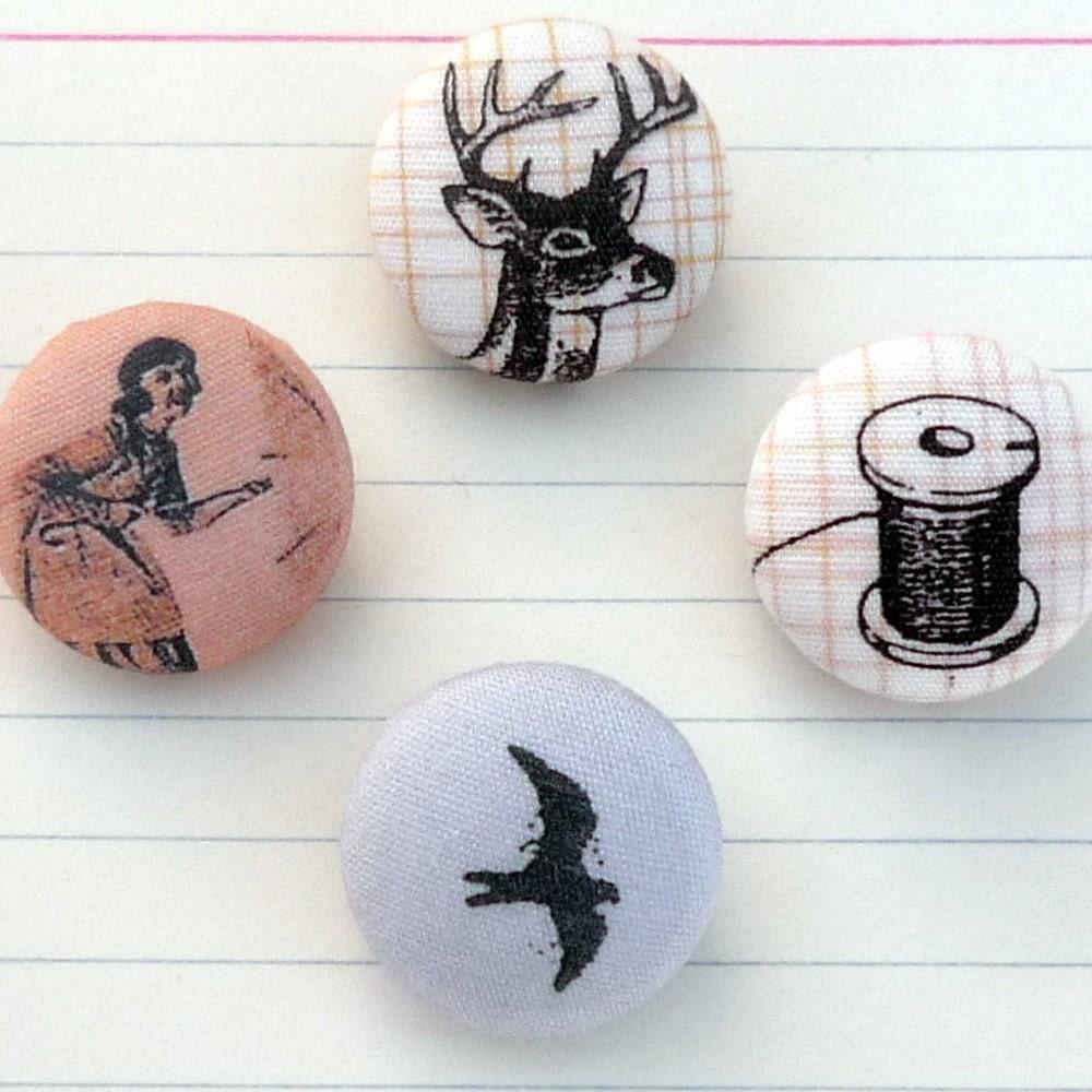 Umbrella Girl, Buck, Spool, and Bird Buttons, set of 4