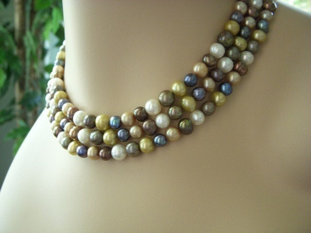 Necklace of Pearls Autumn Harvest Olive Black Gold by BeadzNBling