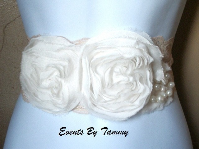 Vintage Inspired Cream and Latte Bridal Sash