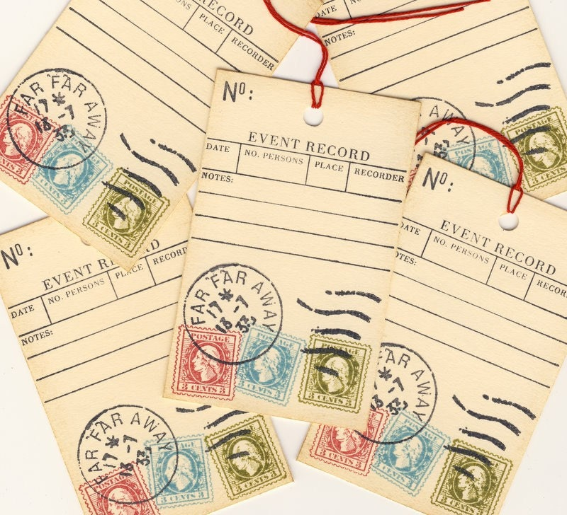 Event Record Journaling Hand Stamped Tags (5)