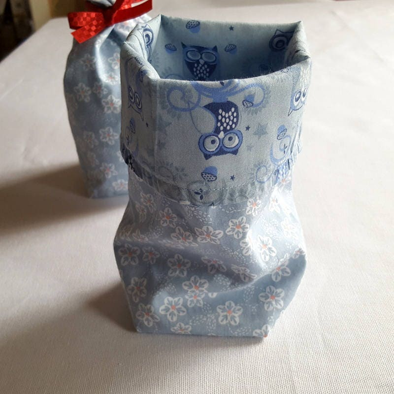 Blue Fabric Gift Bag cotton bag blue flower and owl fabric storage bag handmade UK
