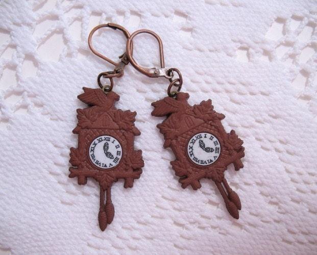 Cuckoo Clock Dangle Earrings