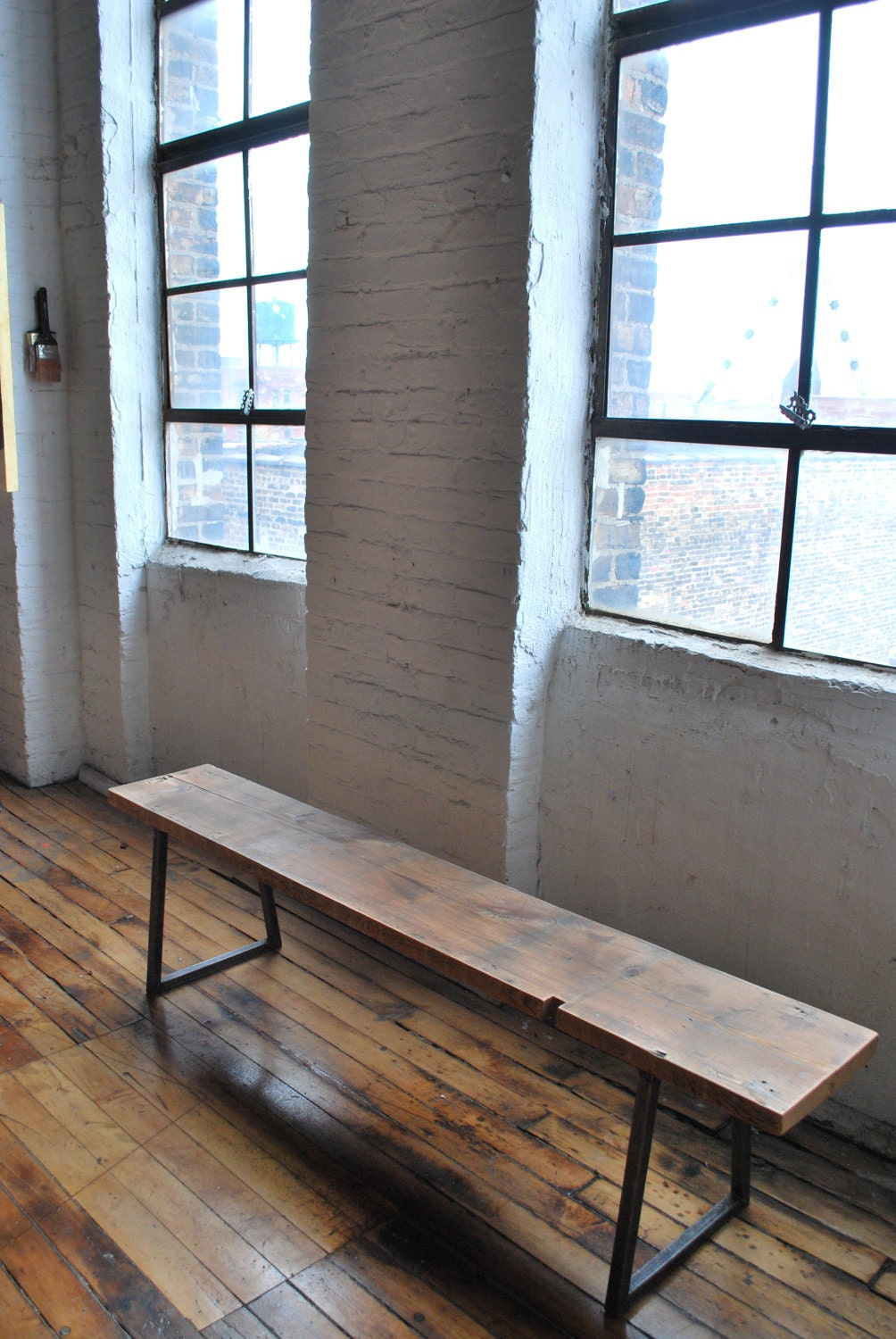 6ft reclaimed wood, industrial modern styled Brooklyn Bench, free shipping - UrbanWoodGoods