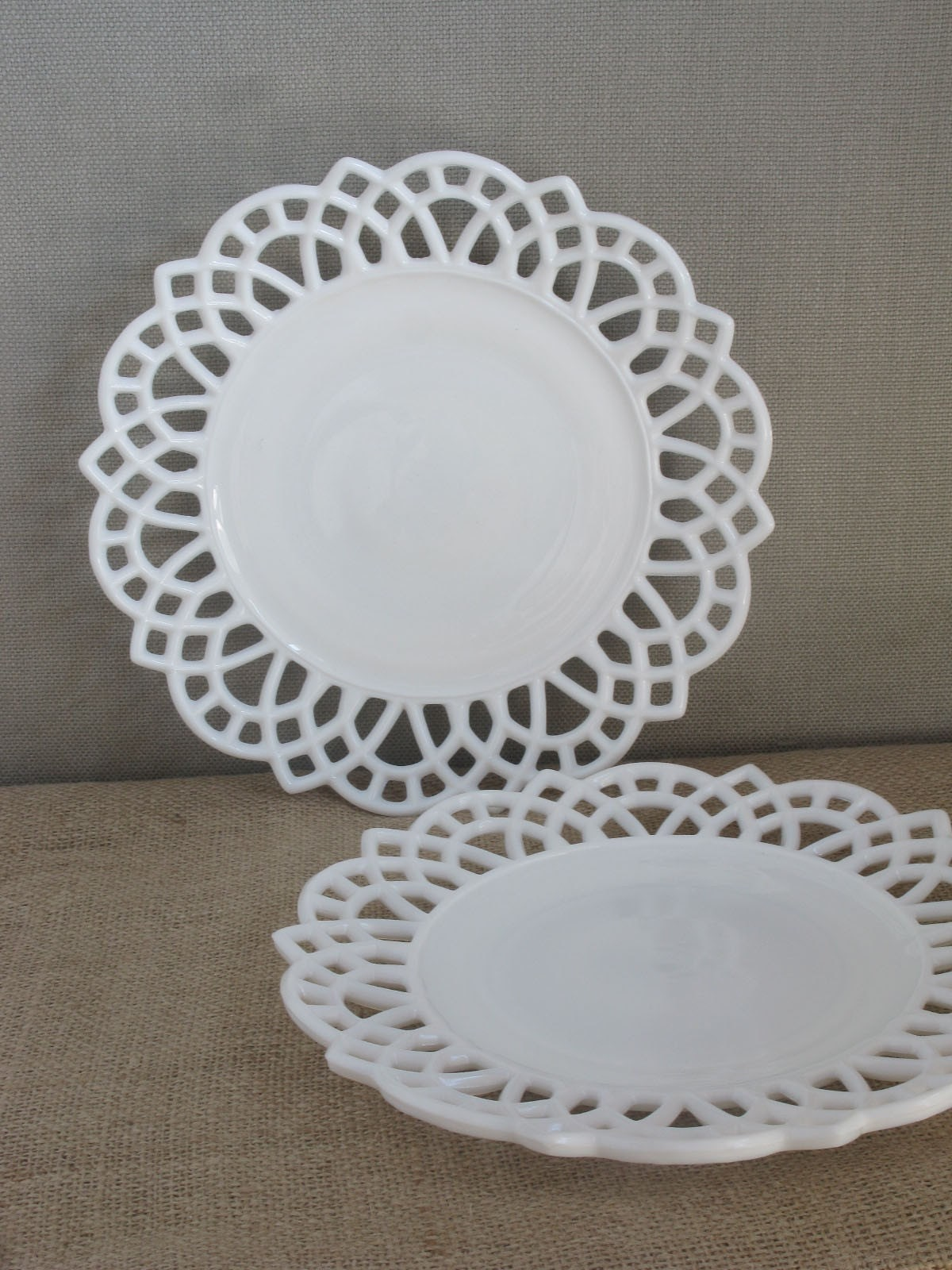 Plates - 1940s Lace Edge Milk Glass Serving