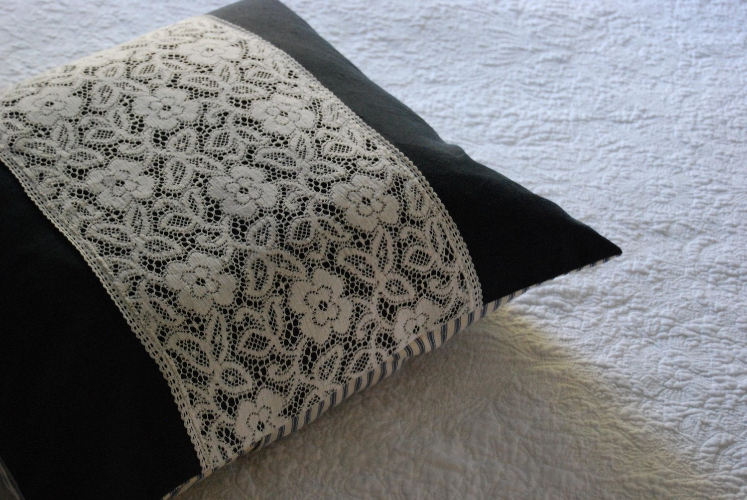 Black hemp and vintage lace pillow cover 20 x 20 handmade