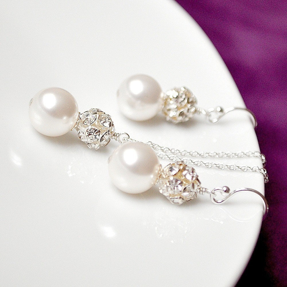 Bridal Set, White Pearl and Rhinestone Sparkle Pendant Necklace and Earrings. Sterling Silver Beaded Wedding Jewellery for the Bride or your Bridesmaids Gifts