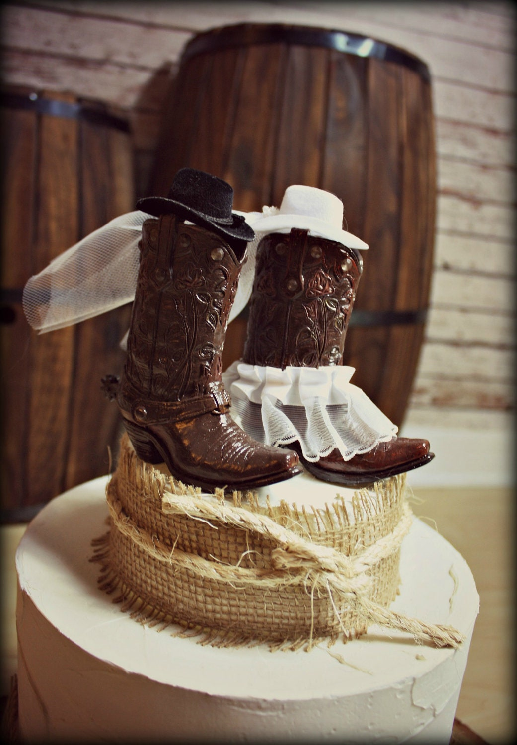 Western Theme Wedding Supplies : Cowboy boots wedding cake topper western by morganthecreator