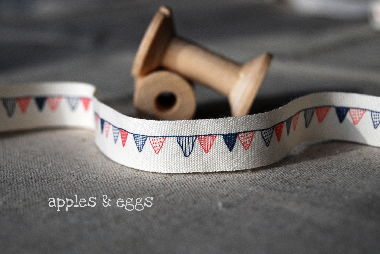 Hand Drawn Flags Japanese Zakka Fabric Tape (One Yard)