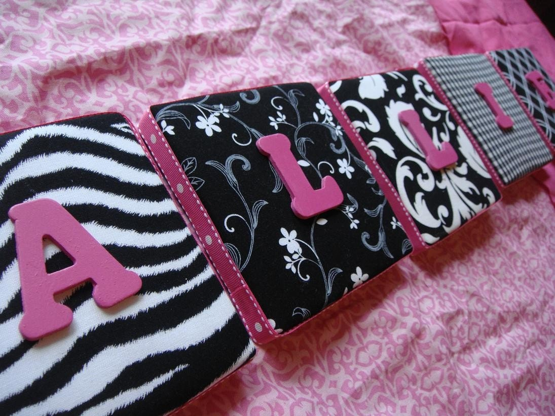 Zebra Nursery LETTERS, WALL LETTERS, Personalized Letters, Black and White LETTERS, Fabric Letters, Painted Letters
