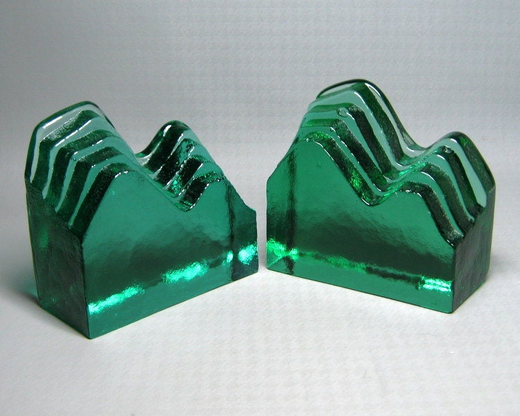 BLENKO glass bookends green by jumpinacrater on Etsy