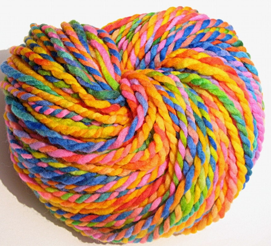 Super Bulky Yarn : 50 yards super bulky rainbow yarn in handpainted by TheGingkoLeaf