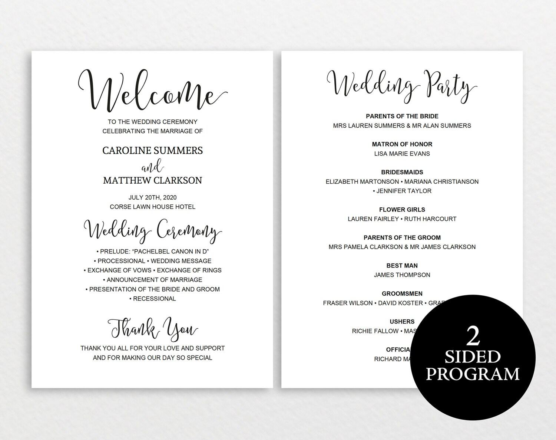 Wedding Program Template Rustic Wedding Program Ceremony Program Printable Wedding Program DIY Wedding Program Program Template PDF