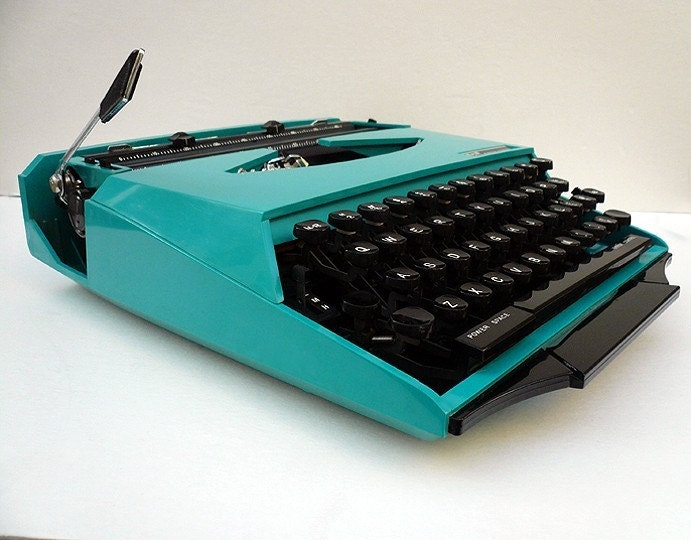 1970s Turquoise CURSIVE Ghia Manual Typewriter with Racing Stripe Case