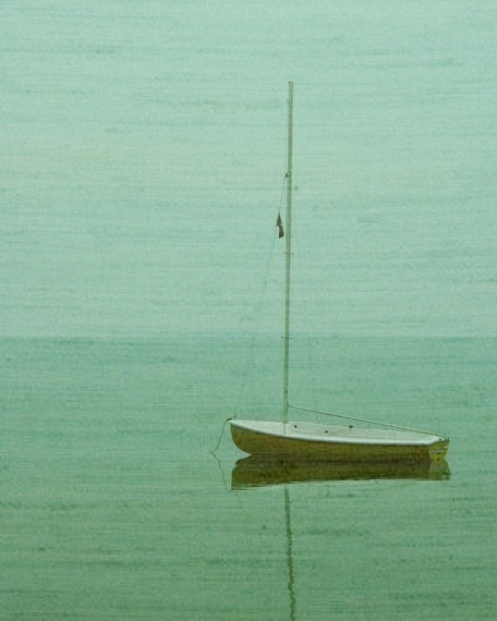 Vintage Sailboat Art Print - Green Aqua Beach Ocean Lake Art Surreal Home Decor Wall Art Soft Foggy Photograph - SevenElevenStudios