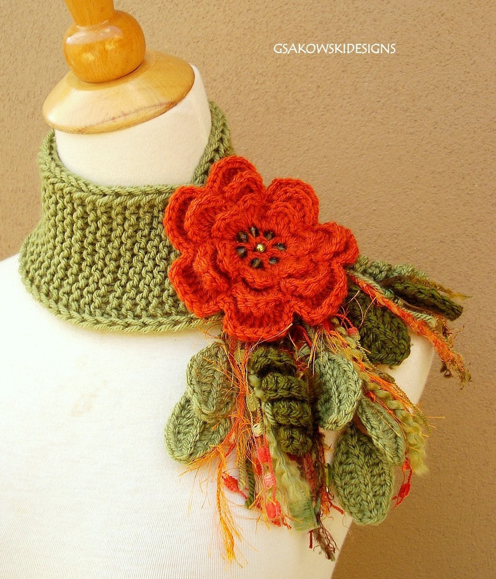 Terracotta  Flower Scarflette