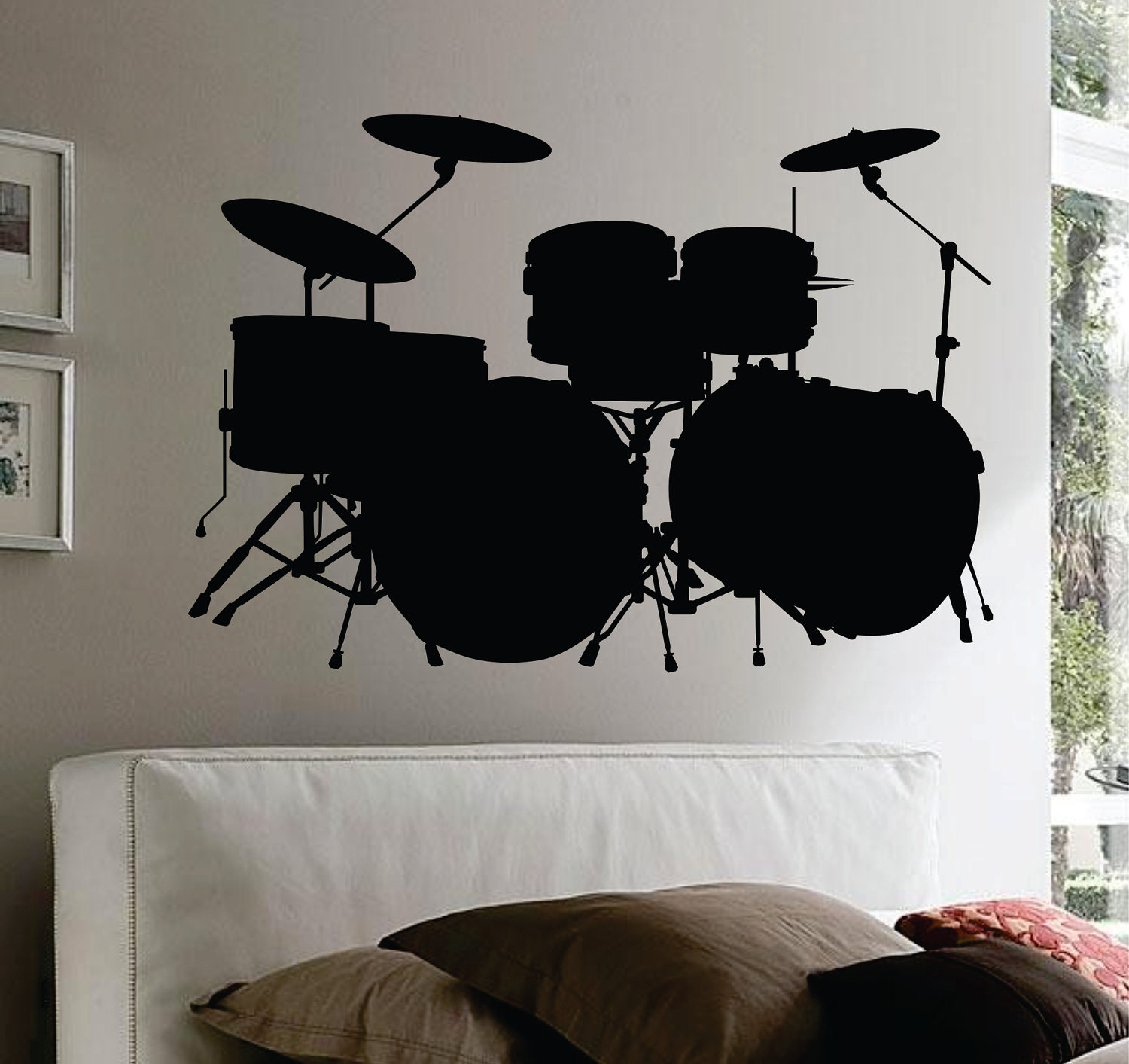 Drum Set Wall Decor : Items similar to drum set wall mural decal sticker music