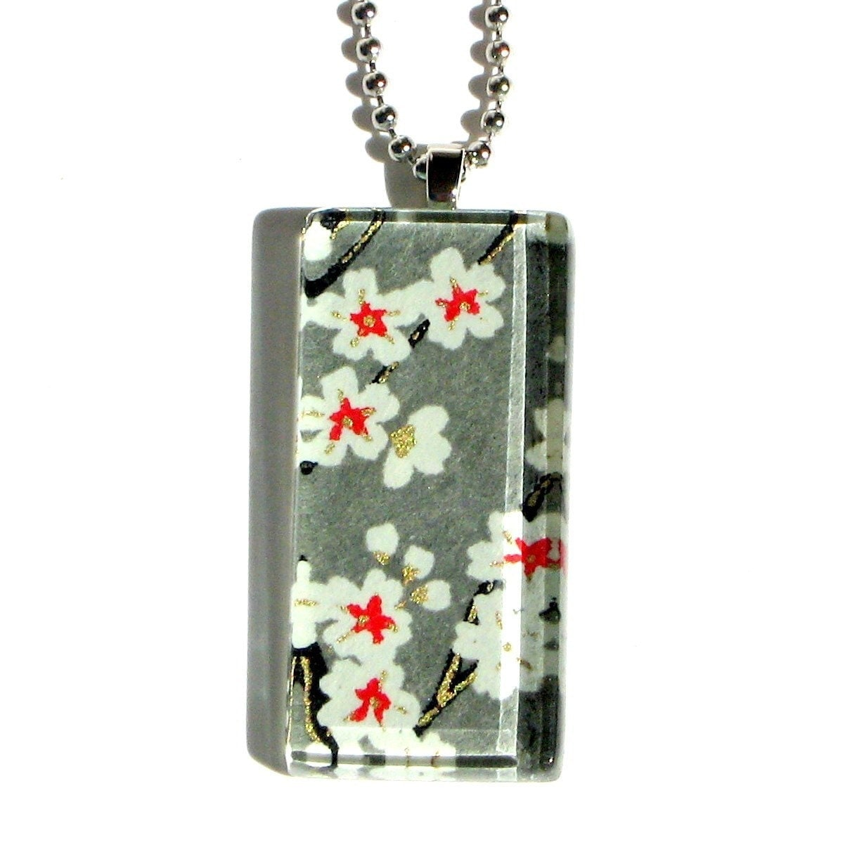 calming - glass and chiyogami dogtag necklace pendant