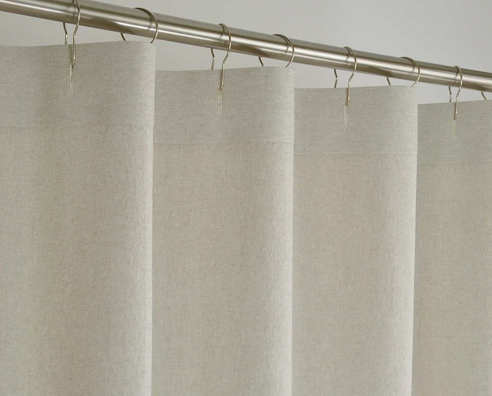78 Long Beige Linen Shower Curtain 72 X 78 Long By Pondlilly